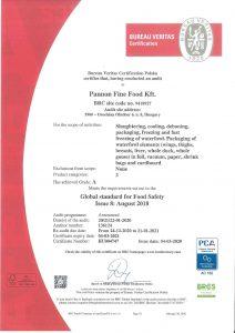 2020 certificate BRC PCA eng HU004747 Pannon Fine Food Kft GA