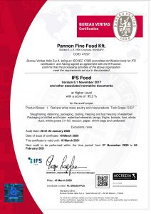 2020 certificate IFS ACCREDIA eng PL19002827PCA Pannon Fine Food Kft GA